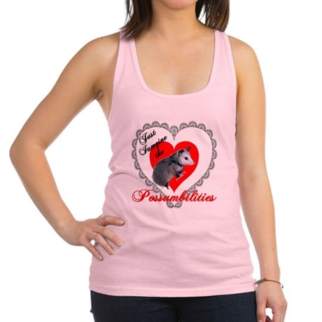 Possum Valentines Heart Racerback Tank Top