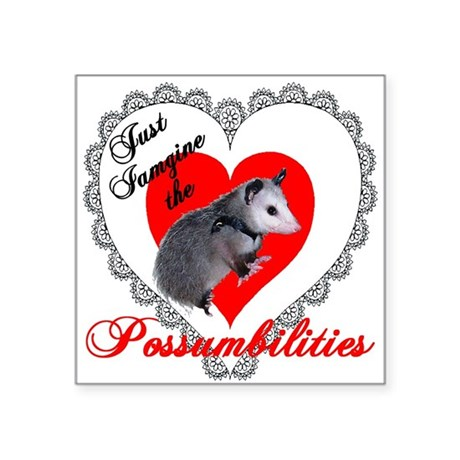 Possum Valentines Heart Square Sticker 3&quot; x 3&quot;