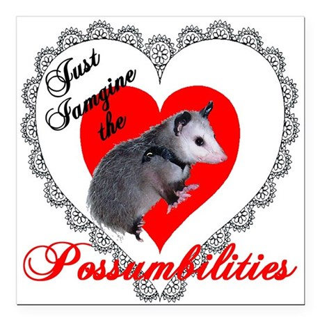 Possum Valentines Heart Square Car Magnet 3&quot; x 3&quot;