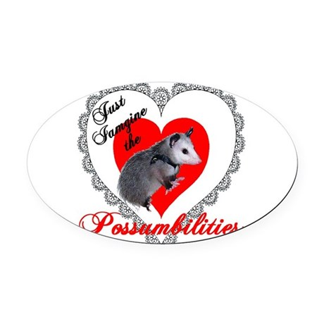 Possum Valentines Heart Oval Car Magnet