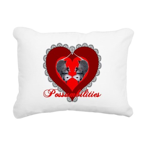 Possum Valentines Heart Rectangular Canvas Pillow