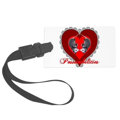 Possum Valentines Heart Large Luggage Tag