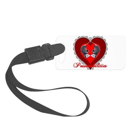 Possum Valentines Heart Small Luggage Tag