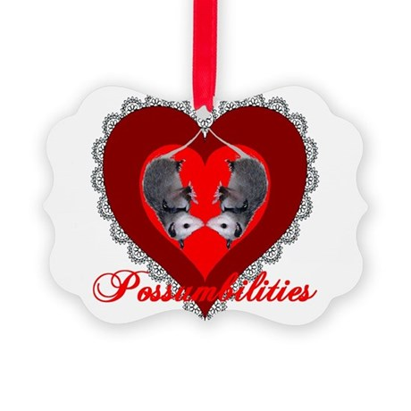 Possum Valentines Heart Picture Ornament