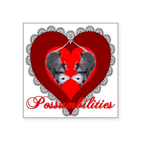 "Possum Valentines Heart Square Sticker 3"" x 3"""