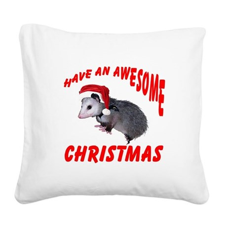 santaspossum2.png Square Canvas Pillow