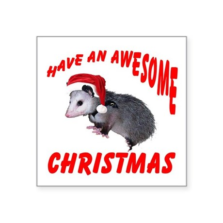 "santaspossum2.png Square Sticker 3"" x 3"""