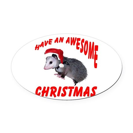santaspossum2.png Oval Car Magnet
