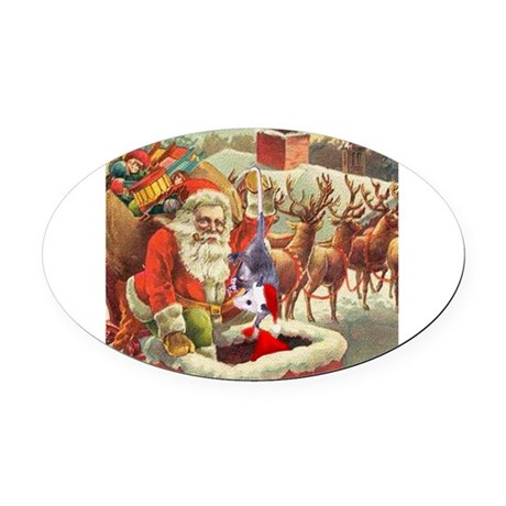 santahelper2a.png Oval Car Magnet