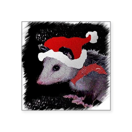 "Possum Santa Square Sticker 3"" x 3"""