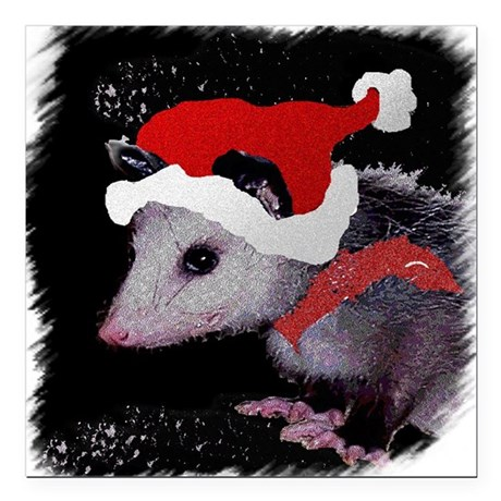 "Possum Santa Square Car Magnet 3"" x 3"""