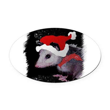 Possum Santa Oval Car Magnet
