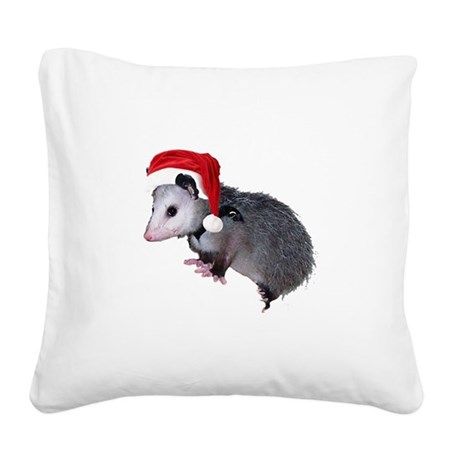 santaspossum.png Square Canvas Pillow