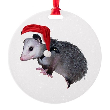 santaspossum.png Round Ornament
