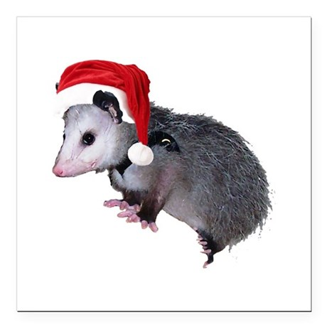 "santaspossum.png Square Car Magnet 3"" x 3"""