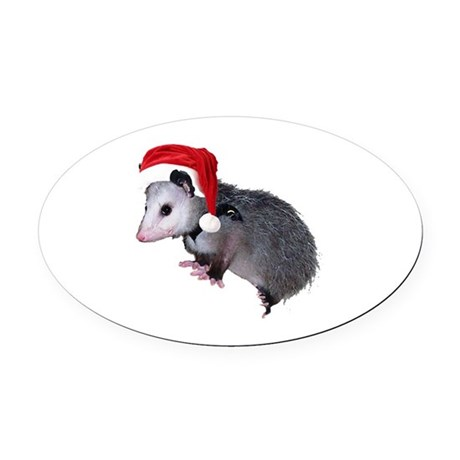 santaspossum.png Oval Car Magnet