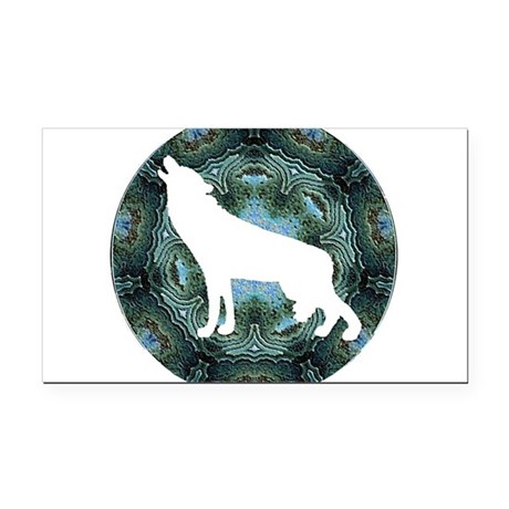 wolf4b.png Rectangle Car Magnet