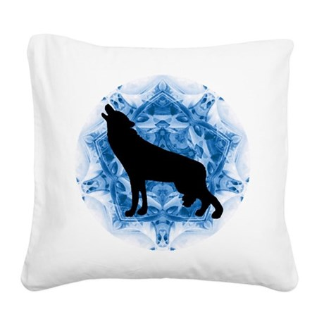 wolfblu.png Square Canvas Pillow