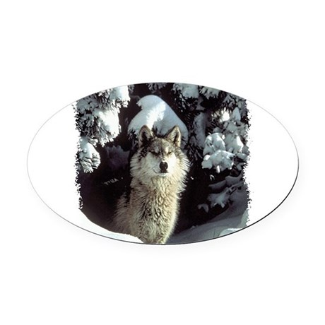 gray wolf Oval Car Magnet