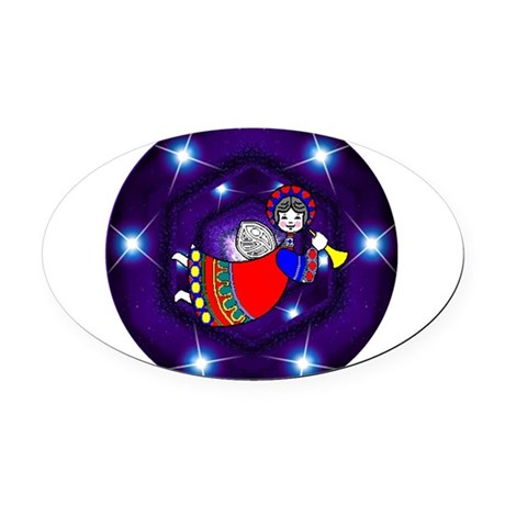 angel2a2.png Oval Car Magnet