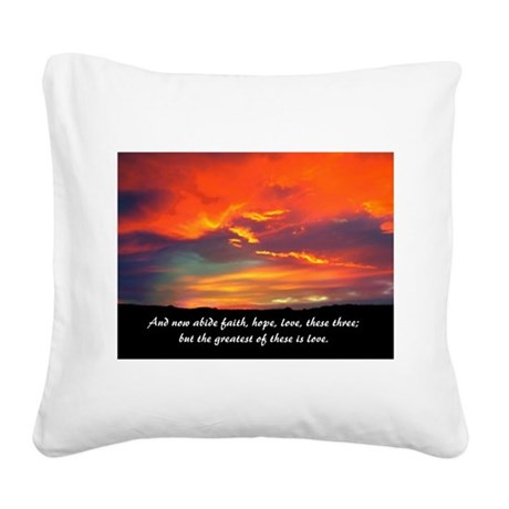 Love Faith Hope Square Canvas Pillow