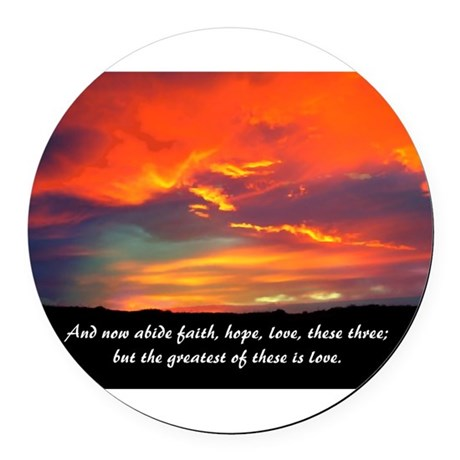 Love Faith Hope Round Car Magnet