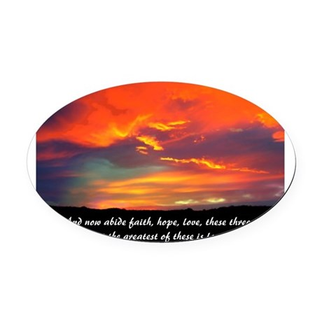 Love Faith Hope Oval Car Magnet