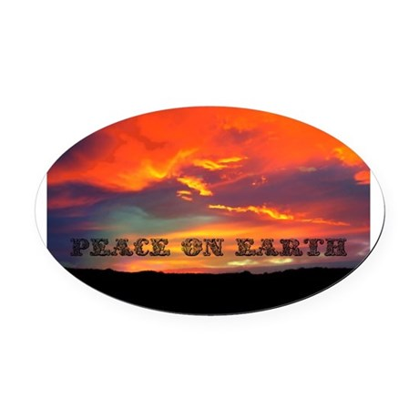 Peace on Earth Oval Car Magnet