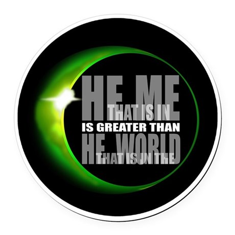 heisgreater3.png Round Car Magnet