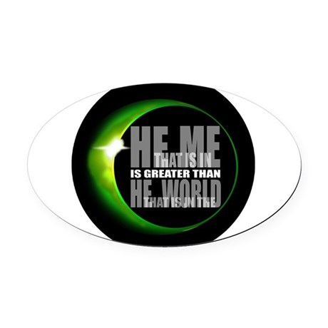 heisgreater3.png Oval Car Magnet