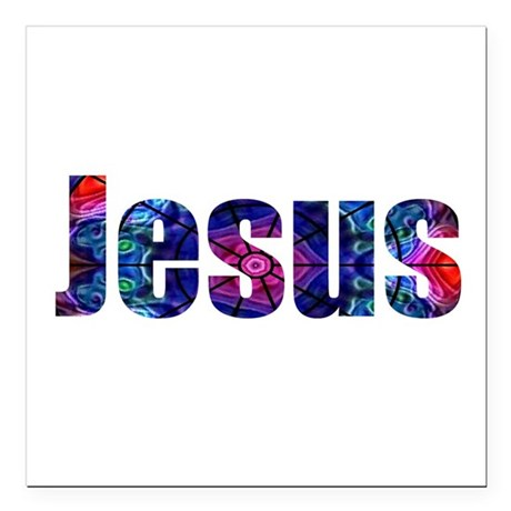 "Jesus Square Car Magnet 3"" x 3"""