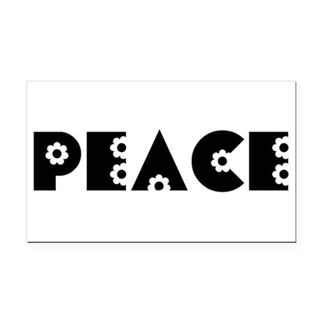 Peace Rectangle Car Magnet