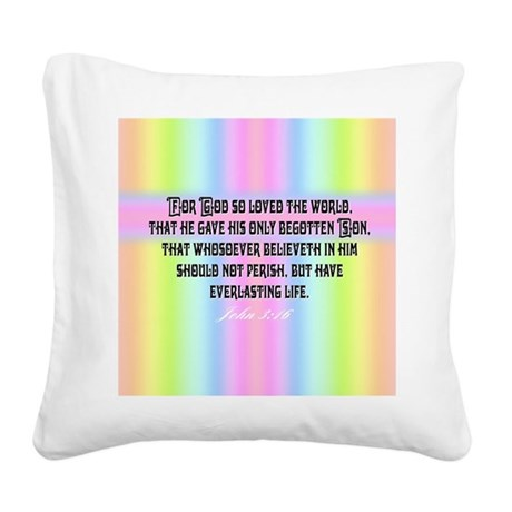 John 3:16 Rainbow Square Canvas Pillow