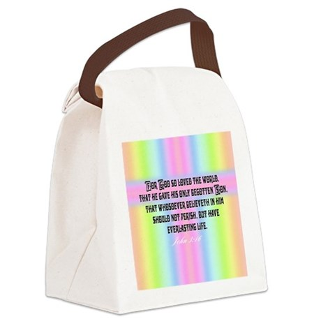John 3:16 Rainbow Canvas Lunch Bag