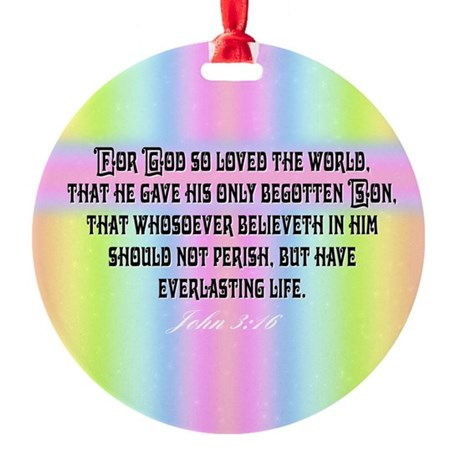 John 3:16 Rainbow Round Ornament