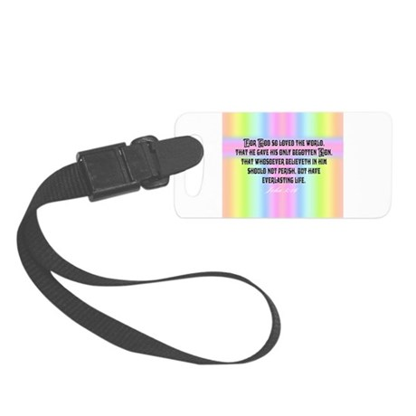 John 3:16 Rainbow Small Luggage Tag