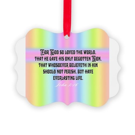 John 3:16 Rainbow Picture Ornament