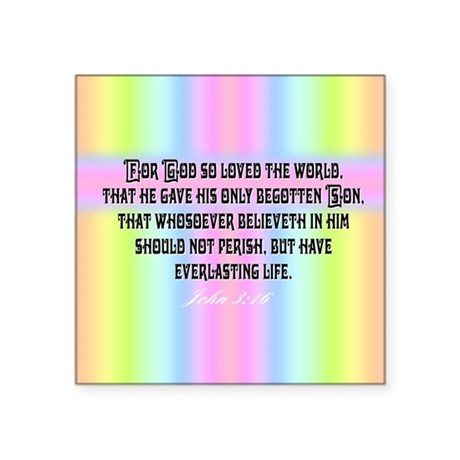 "John 3:16 Rainbow Square Sticker 3"" x 3"""
