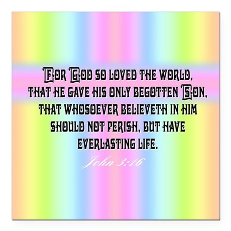 "John 3:16 Rainbow Square Car Magnet 3"" x 3"""