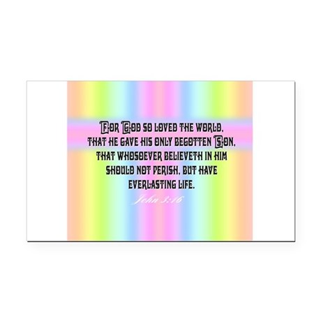 John 3:16 Rainbow Rectangle Car Magnet