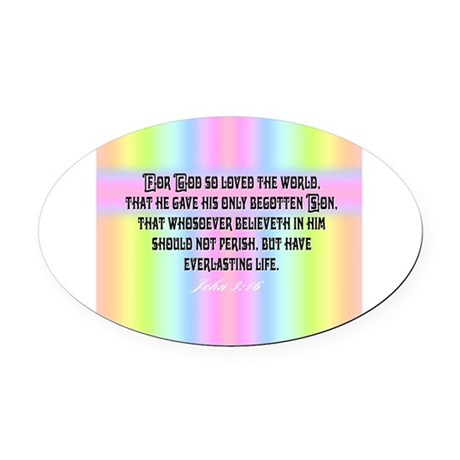 John 3:16 Rainbow Oval Car Magnet