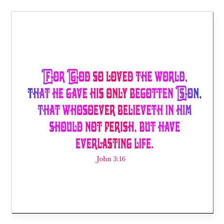 "John 3:16 Square Car Magnet 3"" x 3"""