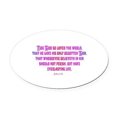 John 3:16 Oval Car Magnet