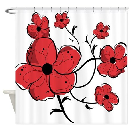Shower Curtains Red Black White | Decoration Empire