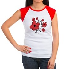 Modern Red and Black Floral Design Tee