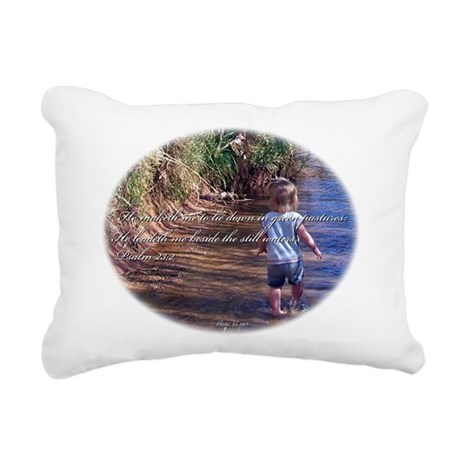 Wading Psalms 23:2 Rectangular Canvas Pillow