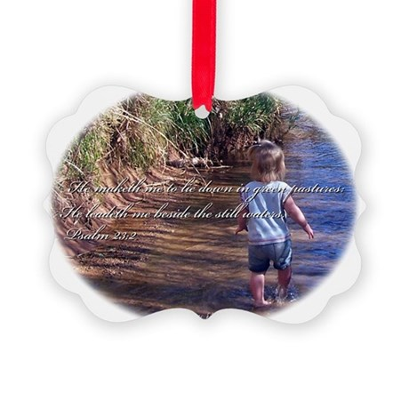Wading Psalms 23:2 Picture Ornament