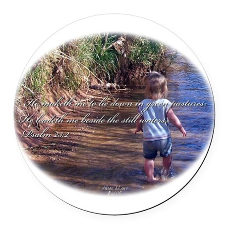 Wading Psalms 23:2 Round Car Magnet