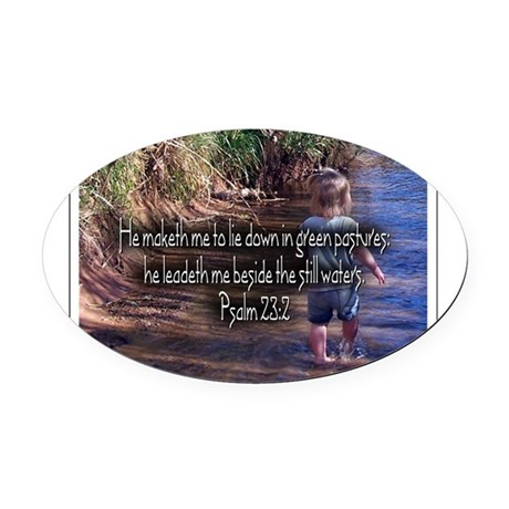 Wading Psalms 23:2 Oval Car Magnet