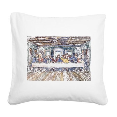 lastsupperpencil2.jpg Square Canvas Pillow